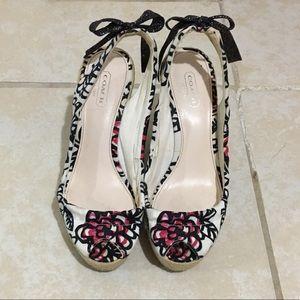 Coach Maritza Floral Espadrilles Wedges Sandals 7B